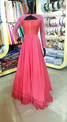 Pink gown with jacket Indian Gowns, Indian Outfits, Beautiful Dresses, Nice Dresses, Awesome Dresses, Girls Dresses, Stylish Dresses, Fashion Dresses, Anarkali Dress