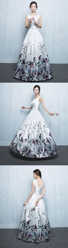white floral pattern long prom dress, evening dress, formal dress