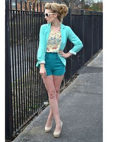 #FALL COLOR: Teal -- Hey Skipper High-Waisted #Teal Shorts -- LULU'S (as seen on Rosie of Rosie Glow Blog)