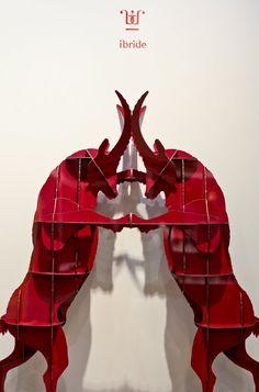 Red FAUSTO ibex bookcase by ibride #ibride #design #interior #decoration #animal #furniture #home #bookshelf www.ibride.fr