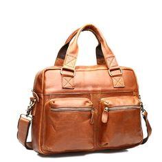 1359cb415f8 Mens Leather Handbag Retro Shoulder Bag Tote Messenger Shopper Hobo Bags  13' Laptop Bag (Brown/Yellow)