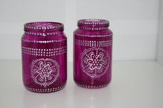 Moroccan lantern, recycled Baby Food Jar, Violet Lantern with silver Henna Style Accents by Skygriffin on Etsy