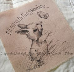 Original Pen Ink Fabric Illustration Quilt Label by Michelle Palmer Love Teddy Bear Bumble Bee Mouse August 2014 Painting Patterns, Fabric Painting, Bee Drawing, Summer Painting, Quilt Labels, Quilting Room, Easter Art, Cute Illustration, Cute Drawings
