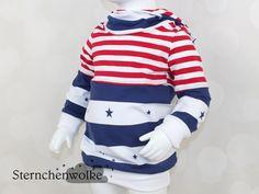 Pullover - Hoodie Stars and Stripes *Wunschgröße* - ein Designerstück von Sternchenwolke bei DaWanda