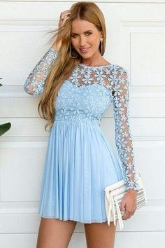Light Blue Long Sleeve Crochet Tulle Skater Dress  #FashionTrend #FashionStyle #LaceDress #LongSleeveDress #FashionWear