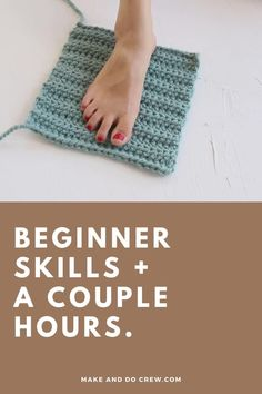 Learn how to crochet slippers from simple rectangles in this easy video tutorial from Make & Do Crew. This beginner crochet project could not be simpler, but the end result is stunning and perfect for gift giving. Use Lion Brand Wool-Ease Thick & Quick or substitute ANY weight yarn for these super fast crochet slippers. Follow along with the free pattern to crochet slippers for toddlers, kids, women and men! #makeandocrew #crochetslipperspattern #fastcrochetpattern Easy Crochet Slippers, Knit Slippers Free Pattern, Crochet Slipper Pattern, Crochet Blanket Patterns, Crochet Stitches, Afghan Crochet, Crochet Slipper Boots, Baby Slippers, Easy Knitting Patterns