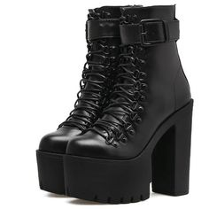 Gothic Wiccan Harajuku Lace Up Platform Ankle Boots (€49) ❤ liked on Polyvore featuring shoes, boots, ankle booties, lace up ankle bootie, lace up boots, platform ankle booties, lace-up bootie and lace-up ankle boots