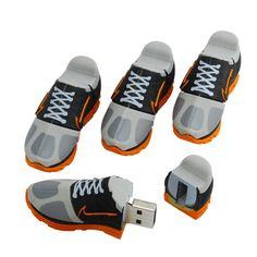USB Nike Trainers - lots of detail in these. The internal layers of the sole are shown when you pull them apart. Nike Trainers, Sneakers Nike, Nike Shoe, Usb Drive, Usb Flash Drive, Hub Usb, Must Have Gadgets, Cool Electronics, Tech Gifts