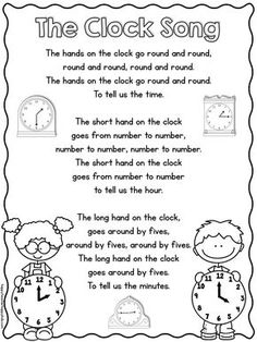 We are working on telling time in first grade and I wanted to share this cute song in case anyone else is teaching time right now. This is another one of those songs that I have known forever but that I don't know the origins of- if it's yours let me know Math Songs, Preschool Songs, Math Activities, Telling Time Activities, Kindergarten Songs, Kids Songs, Kids Song Lyrics, Money Songs For Kids, Music Songs