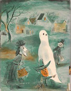 Trick or Treat by Hazel Catkins - vintage Halloween book illustration