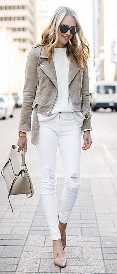 white and grey fashion trends: moto jacket + sweater + bag + rips + heels