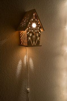This little wooden birdhouse has been fitted with low-wattage candelabra bulb and drilled with a one-of-a-kind pattern, drawn by hand. Its glow is Baby Night Light, Nursery Night Light, Wow Wee, Glass Engraving, Lamp Cord, Wood Carving Patterns, Room Lamp, Candelabra Bulbs, Bird Houses