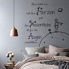Vinyl Wandtattoo Man sieht nur mit dem Herzen gut das Wesentliche Der kleine Prinz Zitat Wandsticker Wanddekoration für Schlafzimmer Kinderzimmer Babyzimmer S77