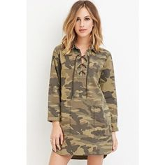 Nwt Forever 21 Camo Print Collared Dress