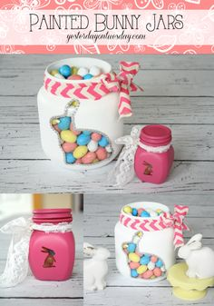 From plain jars to Painted Bunny Jars, great for Easter and Spring decorating and gift giving with Plutonium™ Paint Mason Jar Crafts, Mason Jar Diy, Spring Crafts, Holiday Crafts, Valentine Crafts, Bunny Crafts, Hoppy Easter, Easter Bunny, Easter Party