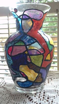 Faux Stained Glass Hand Painted Vase by PattiesPassion on Etsy, $19.99