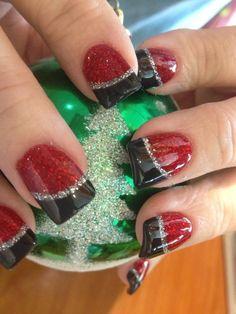 Red glitter, matte black with silver glitter line nail art design. Nails