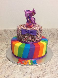 Rainbow sprinkle my little pony cake