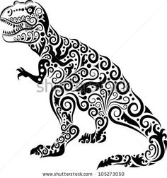 Dinosaur decorative ornament. animal drawing with floral ornament decoration, for tattoo or symbol design by ComicVector703, via ShutterStoc...