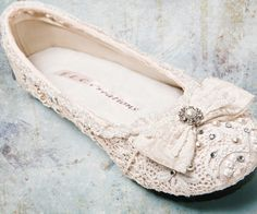 Custom-made wedding ballet flats with hand-sewn lace and Swarovski crystal embellishments. Bridal Flats, Wedding Flats, Lace Wedding, Wedding Slippers, Wedding Girl, Wedding Night, Wedding Bride, Wedding Ceremony, Cute Shoes