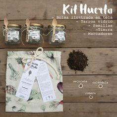 KIT HUERTA: Bolsa ilustrada en tela, tarros de vidrio, semillas, tierra y marcadores para cada aromática. Cuida la naturaleza, cultiva la madre tierra y aliméntate sano. Hazlo tú mismo y siéntete feliz al ver germinar las semillas. Edición Limitada @catalinagraphic @jabalinas [Solo 33 unidades disponibles] / Info: 3116179030 o info@catalinagraphic.com #DIY #illustrated #kit