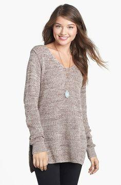 BP. Side Slit Marled V-Neck Sweater (Juniors) available at #Nordstrom