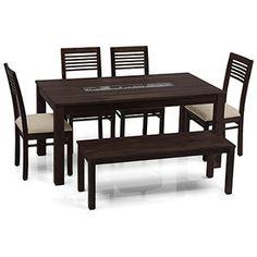Brighton Capra 6 Seater Dining Table Set Mahogany Finish