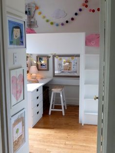Loft bed with desk underneath. Would be great for room sharing as the kids grow!