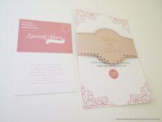 Mademoiselle Wedding Invitation package-http://www.classicweddinginvitations.com.au/bellyband-laser-cut-wedding-invite/ - From $8.50