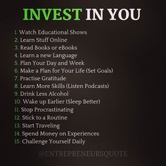 Invest in yourself! - Invest in you! The Best thing you could ever do! Self Development, Personal Development, Leadership Development, Life Quotes Love, Wisdom Quotes, Quotes Quotes, Cover Quotes, Practice Gratitude, Learn A New Language