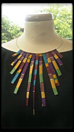 Wow these diy african fashion are gorgeous Image# 1783033731 Diy African Jewelry, African Crafts, African Accessories, African Necklace, Latest African Fashion Dresses, African Print Dresses, African Print Fashion, Fashion Prints, Ankara Fashion