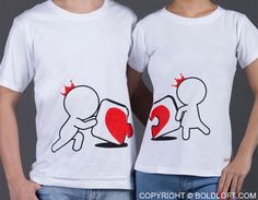 """Once you find the missing piece to the puzzle of your life, things will never be the same. This cute couple's t-shirt duo beautifully illustrates that special type of love! BoldLoft """"Incomplete Without You"""" Matching Couple Shirts. #BoldLoft #MatchingCoupleShirts"""