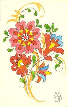 Pohľadnice Milana a Jána Pánského: Štefan Leonard Kostelníček Folk Embroidery, Embroidery Patterns, Painting Inspiration, Flower Art, Line Art, Folk Art, Decoupage, Print Design, Weaving