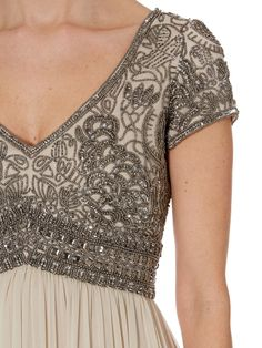 Adrianna Papell Maxi and long dresses for Women - Adrianna Papell Beaded Top Empire Waist Dress in Gray (Beige) Beautiful Gowns, Beautiful Outfits, Frise Art, Evening Dresses, Prom Dresses, Wedding Dresses, Long Dresses, Beaded Top, Mode Vintage