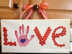 Multitask Mommy: Valentine craft - craft store canvas, paint, buttons, glue, ribbon hanger...