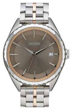 Free shipping and returns on Nixon 'The Minx' Bracelet Watch, 39mm at Nordstrom.com. Meticulous Swiss movement offers precise, reliable timekeeping on a chic wristwatch styled with a brushed stadium dial and a two-tone bracelet.