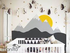 """This mountain inspired wall decal is a heaven for nature lover. Size Whole design (approx): 108""""w x 96""""h  This listings includes > Sun > Little triangles > Grey mountain with snow cap > Dark grey mountain  Color: >Default as shown >Custom my own  If you would like to Custom your own colors, please choose colors from our color chart for this design > Sun (choose 1 color to replace YELLOW ) > Little triangles (choose 1 color to replace GOLD ) > Grey mountain with snow..."""