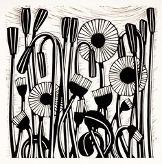 Helen Roddie ~ Daisy Patrol ~ Linocut, 150 x 300 mm Lino Art, Woodcut Art, Linocut Prints, Art Prints, Block Prints, Art Connection, Linoleum Block Printing, Buch Design, Linoprint