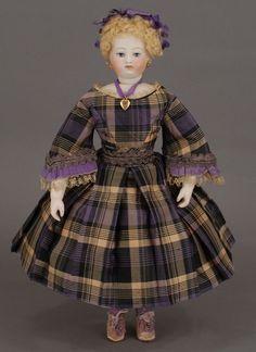 "16 1/2"" Antique Child Doll, unknown maker, plaid silk dress - sold by Carmel Doll Shop"