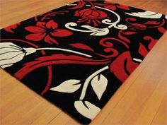 Red White and Black Rugs | ... Acrylic Rug in Red, Black and White. This Rug has a Sculptured Pile