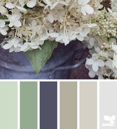 design seeds: flora tones I love green, and this is a sophisticated palette Design Seeds, Paint Schemes, Colour Schemes, Color Combos, Green Interior Design, Purple Interior, Living Room Green, Living Rooms, Sage Green Bedroom