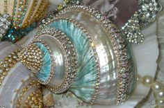 Beach Cottage Shimmer Collection Aqua Bejeweled Seashell-shabby, shells, rhinestones, bling, sea, cottage, aqua, beach,