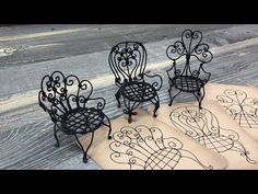 Chairs Bed Bath And Beyond Referral: 3525170262 Plywood Furniture, Doll Furniture, Wire Crafts, Diy Home Crafts, Miniature Youtube, Miniature Tutorials, Chair Eames, Blue Velvet Dining Chairs, White Chairs