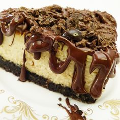 Chocolate and Coffee.This delightful Chocolate Coffee Bean Cheesecake brims with each flavorful bite.