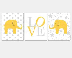 Elephants Baby Wall Art Nursery Quote Print PERSONALIZED - Three Prints Set - Kid Love Stars Dots - Yellow Gray White Colors - 8x10 inch