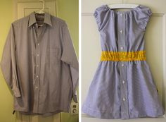 TUTORIAL: The Shirt Dress by Dana on July 2008 Turn a Men's Dress Shirt into a Girl's Summer Dress! It's fun, easy, and a great way to reuse one of Dad's old shirts. A few of the versions we've done…. Old Shirts, Dad To Be Shirts, Couple Shirts, Old Dresses, Cute Dresses, Diy Clothing, Sewing Clothes, Dress Sewing, Summer Clothing