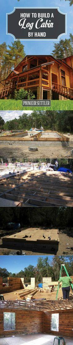 Cómo construir una cabaña de troncos a mano - Ideas Homesteading How To Build A Log Cabin, Building A Cabin, Bungalow, Log Cabin Furniture, Metal Furniture, Furniture Plans, Kids Furniture, Log Cabin Homes, Log Cabins