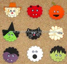 Halloween faces using scalloped circle punch - bjl