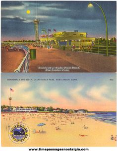 """""""Standing on my tippie toes at the concessions stand waiting for my popcicle""""  Ocean Beach New London Ct, linen postcard."""