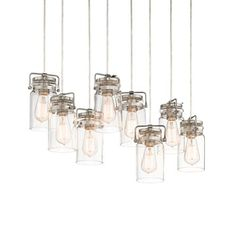 The vintage style of this 8 light pendant from the Brinley collection gives a beautifully modern treatment to the familiarity and comfort of canning jars. #jars #pendant #modern
